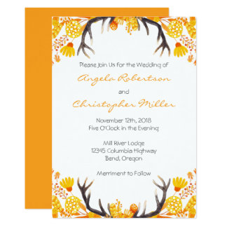 Antlers with Autumn Leaves Wedding 13 Cm X 18 Cm Invitation Card