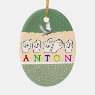 ANTON FINGERSPELLED ASL SIGN NAME MALE CHRISTMAS ORNAMENT