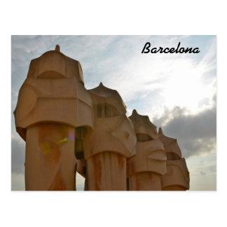 Antonio Gaudi chimney Post card, Barcelona Postcard