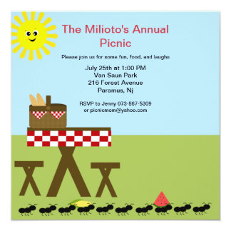 Ants Come Marching In To Picnic Invitation