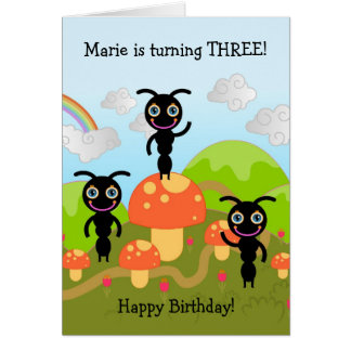 Ants waving Happy Birthday Cards