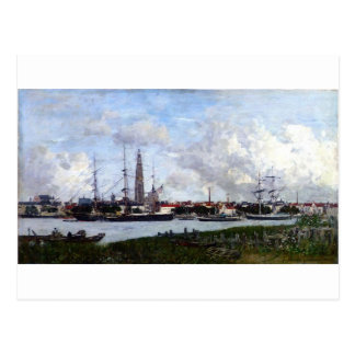 Antwerp, the Port by Eugene Boudin Postcard