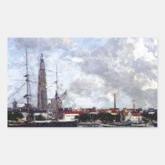 Antwerp, the Port by Eugene Boudin Rectangular Sticker