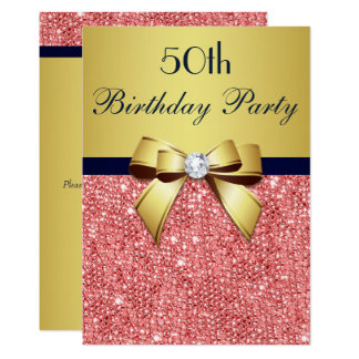 Any Age Birthday Gold Navy Coral Sequins Bow