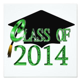 "Any Color 2014 Class Graduation Party Invitations 5.25"" Square Invitation Card"