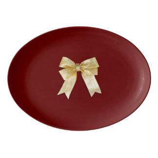 Any Color with Gold Holiday Bow Add Your Text Porcelain Serving Platter