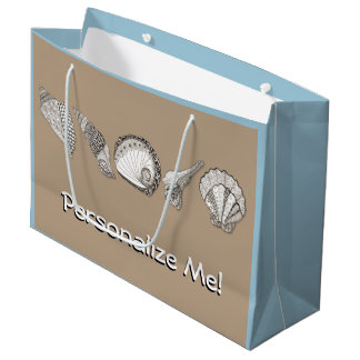 Any Colour Hand Drawn Sea Shells Large Gift Bag