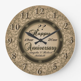 Any Year Anniversary Copper Large Clock