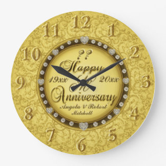 Any Year Anniversary Gold Wall Clocks