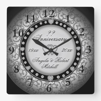 Any Year Anniversary Silver Look Square Wall Clock