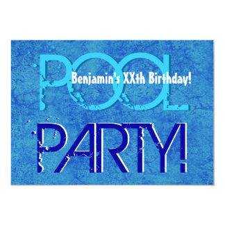 Any Year Birthday Pool Party Blue White V10Z Card