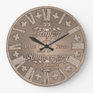 Any Year Copper Look Wedding Anniversary Wallclocks