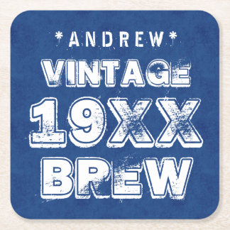 Any Year VINTAGE BREW Grunge Text Blue G11Z3 Square Paper Coaster