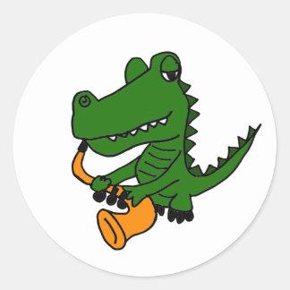 AO- Gator Playing the Saxophone Classic Round Sticker