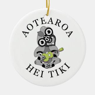 Aotearoa Hei Tiki with green ukulele Christmas Ornament