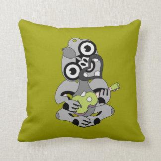 Aotearoa Hei Tiki with green ukulele Cushion