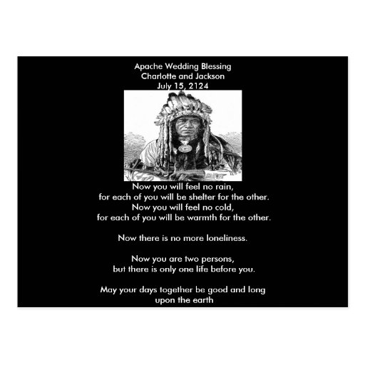 Apache Wedding Blessing Cheif Post Card