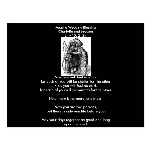 Apache Wedding Blessing Dakota-Sioux Cheif Postcard