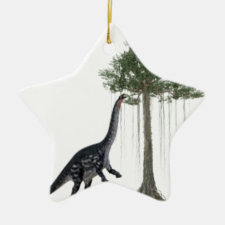 Apatosurus Dinosaur feeding on a Tree Christmas Ornament