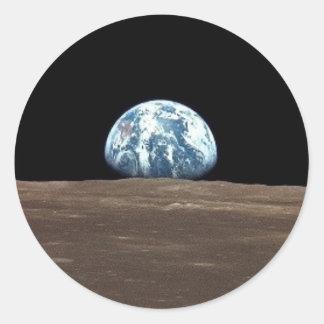 APOLLO 11 EARTHRISE (earth moon solar system) Classic Round Sticker