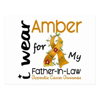 Appendix Cancer I Wear Amber For My Father-In-Law Postcard