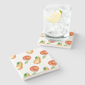 Apple and two pears watercolor design stone coaster