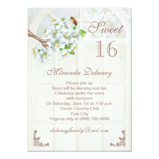 Apple blossom and bee Sweet 16 Invitation