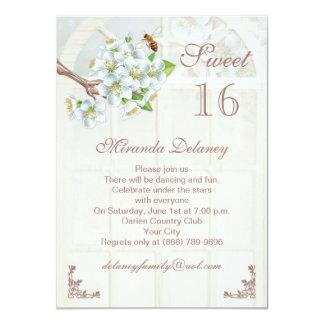 Apple blossom and bee Sweet 16 Invitation
