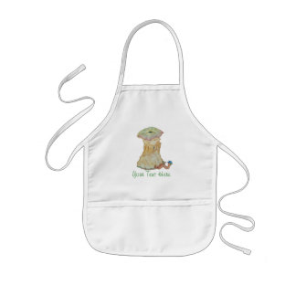 Apple core with funny maggot  in hat illustration kids apron