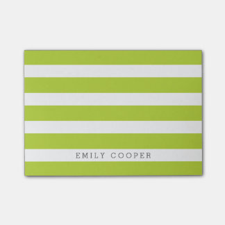 Apple Green and White Classic Stripes Monogram Post-it Notes