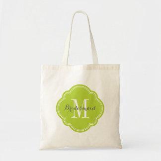 Apple Green Monogram Bridesmaid Tote Bag