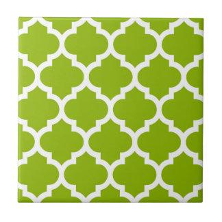 Apple Green White Moroccan Quatrefoil Pattern #5 Small Square Tile
