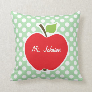 Apple on Celadon Green Polka Dots Throw Cushion