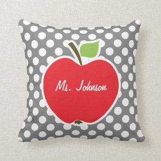 Apple on Dark Gray Polka Dots Cushion