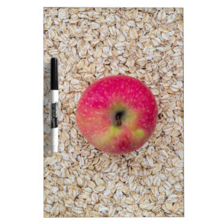 Apple on oatmeal dry erase board