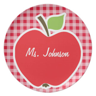 Apple on Retro Scarlet Red Gingham Plates