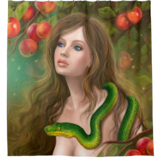 Apple temptation. Beautiful woman Eve and snake. Shower Curtain