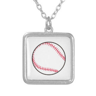 Applique Baseball Square Pendant Necklace