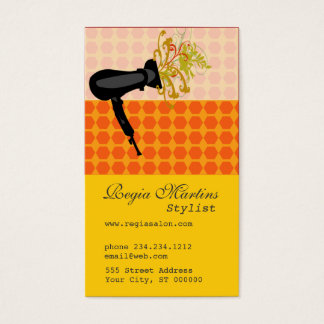 Appointment Adorable Salon Hair Stylist Dryer Business Card