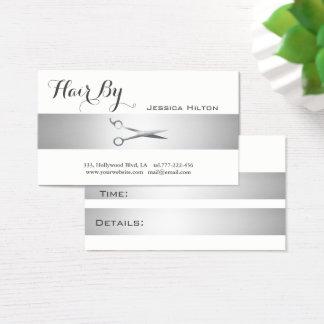 Appointment card elegant silvery stripe  scissors