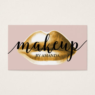Appointment Card | Gold Lips Girly Makeup Artist