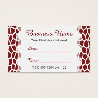 Appointment Card I/ U pick Color Giraffe Print