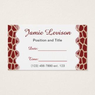 Appointment Card II/ U pick Color Giraffe Print