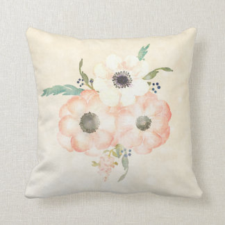 Apricot Anemones Pretty Decorative Floral Throw Pillow
