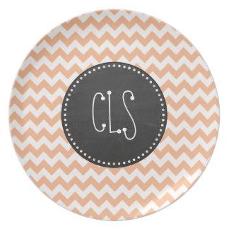 Apricot Color Chevron Retro Chalkboard look Plate