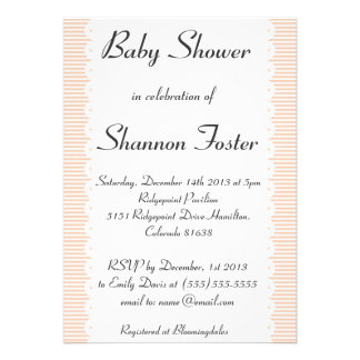 Apricot Pinstripes Baby Shower Invitation