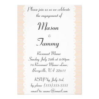Apricot Pinstripes Engagement Party Invitation