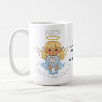 April Birthstone Angel Blonde Basic White Mug