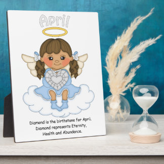 April Birthstone Angel Brunette Plaque