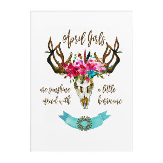 April Girls Are Sunshine. Boho Skull Bohemian Acrylic Wall Art